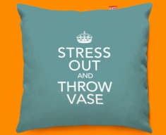 Keep Calm Stress Out and Throw Vase Funky Sofa Cushion 45x45cm