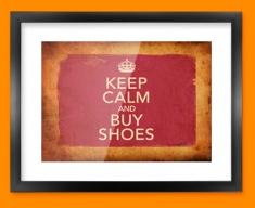 Keep Calm Vintage Buy Shoes Framed Print