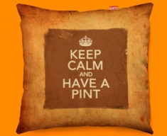 Keep Calm Vintage Have A Pint Funky Sofa Cushion 45x45cm