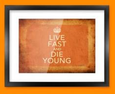 Keep Calm Vintage Live Fast Framed Print