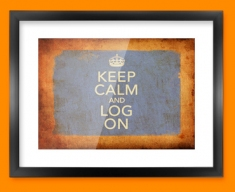 Keep Calm Vintage Log On Framed Print