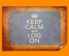 Keep Calm Vintage Log On Poster