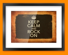 Keep Calm Vintage Rock On Framed Print