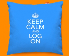 Keep Calm Log On Funky Sofa Cushion 45x45cm