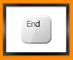 Keyboard Key End White Framed Print