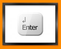 Keyboard Key Enter White Framed Print