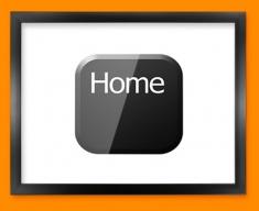 Keyboard Key Home Black Framed Print