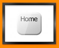 Keyboard Key Home White Framed Print