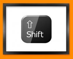 Keyboard Key Shift Black Framed Print