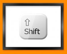 Keyboard Key Shift White Framed Print