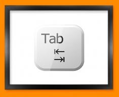 Keyboard Key Tab White Framed Print