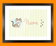 Kitty Personalised Childrens Name Framed Print
