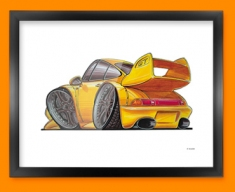 Porsche 911 GT Car Caricature Illustration Framed Print