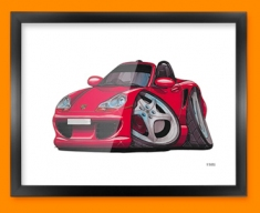 Porsche Boxter Car Caricature Illustration Framed Print