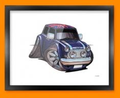 Mini Cooper Union Jack Car Caricature Illustration Framed Print
