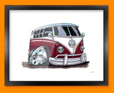 VW Camper Car Caricature Illustration Framed Print