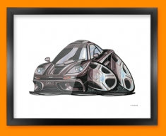 McClaren F1 GTR Car Caricature Illustration Framed Print