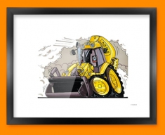 JCB Yellow Digger Car Caricature Illustration Framed Print