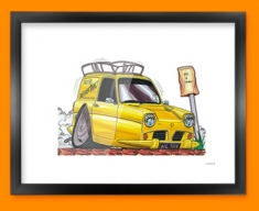 Only Fools And Horses Van Car Caricature Illustration Framed Print