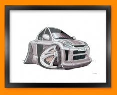 Renault Clio Car Caricature Illustration Framed Print