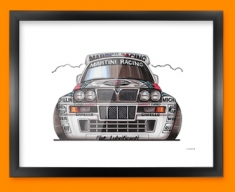 Lancia Intergrale Car Caricature Illustration Framed Print