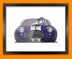 AC Cobra Car Caricature Illustration Framed Print