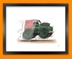 Land Rover Car Caricature Illustration Framed Print