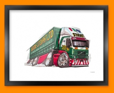 Eddie Stobart Car Caricature Illustration Framed Print