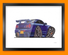 Nissan Skyline GTR Car Caricature Illustration Framed Print