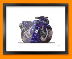 Yamaha R1 Motorbike Bike Caricature Illustration Framed Print