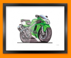 Kawasaki ZX7R Ninja Motorbike Bike Caricature Illustration Framed Print