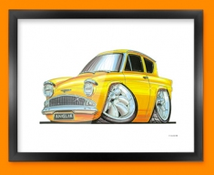 Ford Anglia Car Caricature Illustration Framed Print