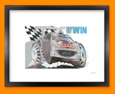 Peugeot WRC Car Caricature Illustration Framed Print