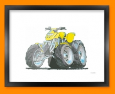 Quad Car Caricature Illustration Framed Print