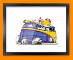 VW Volkswagen Beach Camper Car Caricature Illustration Framed Print