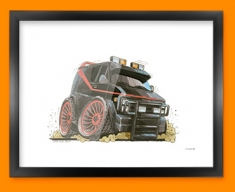 A Team Car Caricature Illustration Framed Print