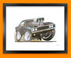 Charger Car Caricature Illustration Framed Print