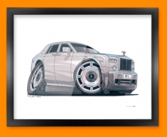 Rolls Royce Car Caricature Illustration Framed Print