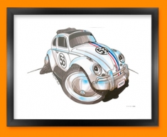 Herbie Beetle Car Caricature Illustration Framed Print