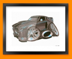 Ford Mustang Car Caricature Illustration Framed Print
