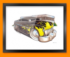 Lincoln Leadsled Car Caricature Illustration Framed Print