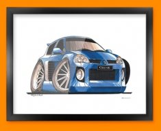 Renault Clio V6 Car Caricature Illustration Framed Print