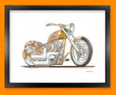 Harley Davidson Chopper Motorbike Bike Caricature Illustration Framed Print