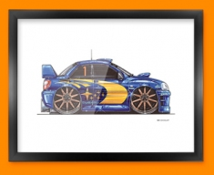 Subaru Rally Side Car Caricature Illustration Framed Print