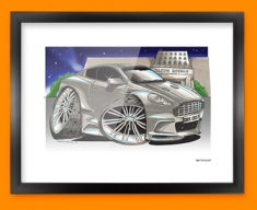 Aston Martin DBS Car Caricature Illustration Framed Print