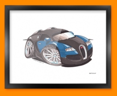 Bugatti Veyron Car Caricature Illustration Framed Print