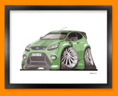 Ford Focus RS Car Caricature Illustration Framed Print