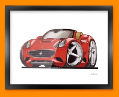 Ferrari California Car Caricature Illustration Framed Print