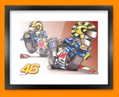 Valentino Rossi Car Caricature Illustration Framed Print