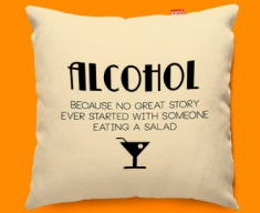 Alcohol Typography Funky Sofa Cushion